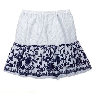 Melissa Paige Striped Floral Embroidered Skirt